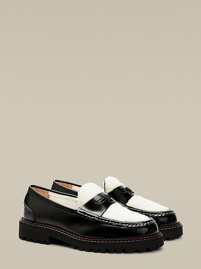 black shearling and leather crest boat shoes for men hilfiger collection