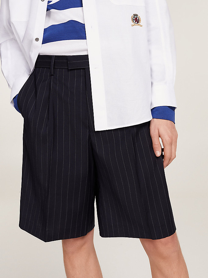 short en laine à blason brodé bleu pour men hilfiger collection