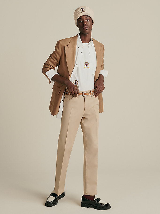 beige crest embroidery twill trousers for men hilfiger collection