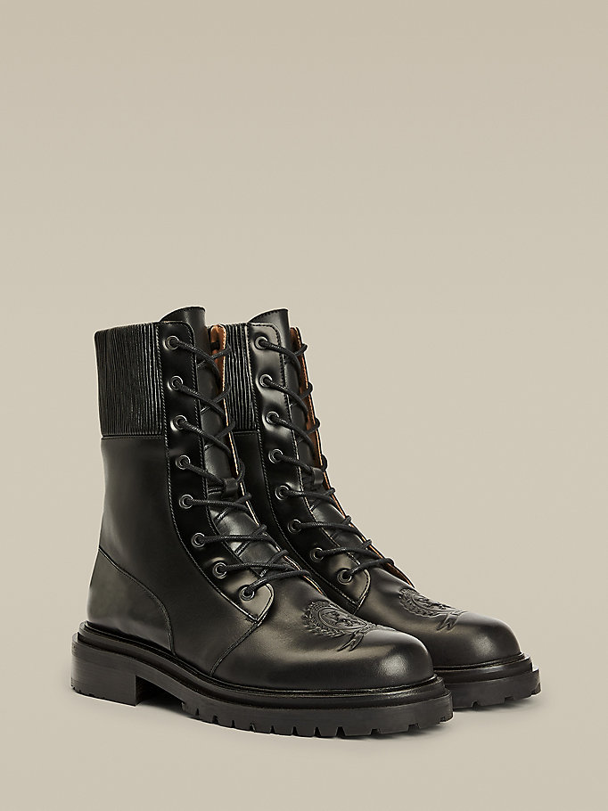 black crest leather combat boots for men hilfiger collection