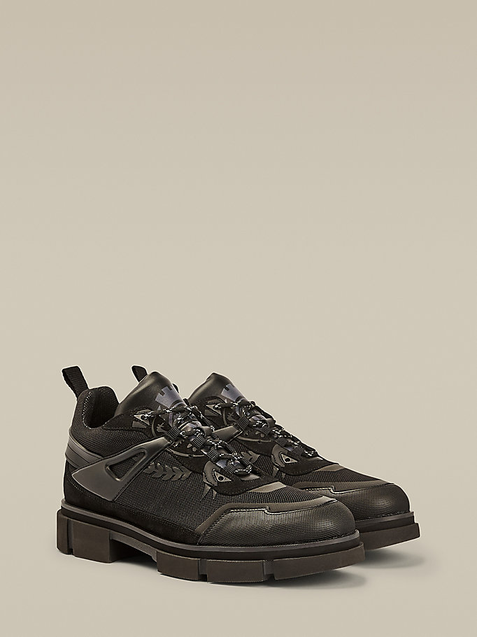 black chunky hybrid crest trainers for men hilfiger collection