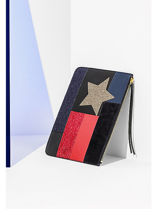 HILFIGER COLLECTION Sparkly Patchwork Flag Clutch - PEACOAT / MULTI - HILFIGER COLLECTION Bags & Accessories - main image