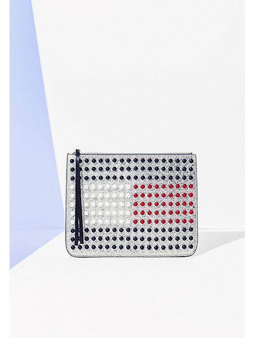 HILFIGER COLLECTION 3D Flag Clutch - SILVER / MULTI - HILFIGER COLLECTION Women - main image