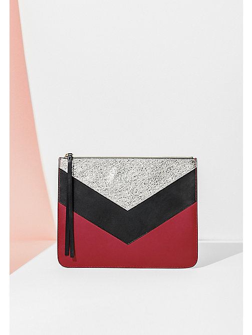 HILFIGER COLLECTION Chevron Leather Pouch - PEACOAT / MULTI - HILFIGER COLLECTION Bags & Accessories - main image