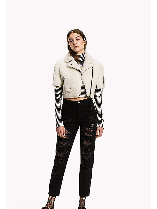 HILFIGER COLLECTION Leather Cropped Biker Jacket - SNOW WHITE - HILFIGER COLLECTION Women - main image