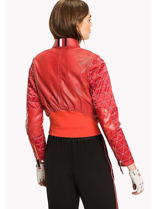 HILFIGER COLLECTION Leather Racing Jacket - TRUE RED - HILFIGER COLLECTION Hilfiger Collection - detail image 1