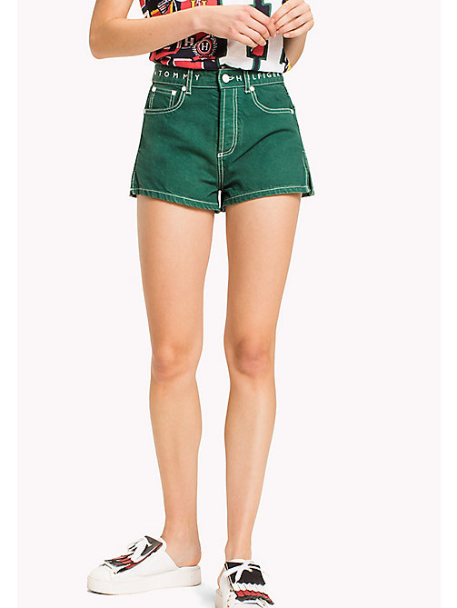 HILFIGER COLLECTION High Waist Denim Short - EVERGREEN - HILFIGER COLLECTION VACATION - main image