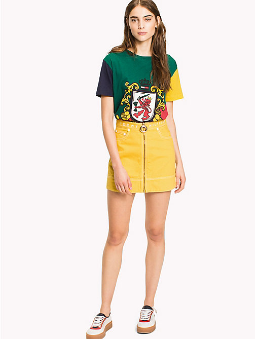 HILFIGER COLLECTION Denim Mini Skirt - Hilfiger Collection - SULPHUR -  Vacation Style - main image