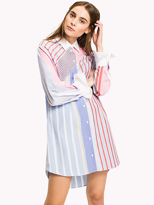 HILFIGER COLLECTION Patchwork Striped Dress - OXFORD BLUE / MULTI - HILFIGER COLLECTION Shirt Dresses - main image