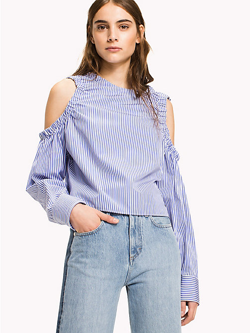 HILFIGER COLLECTION Striped Cold Shoulder Top - HYDRANGEA / MULTI - HILFIGER COLLECTION HILFIGER COLLECTION - main image