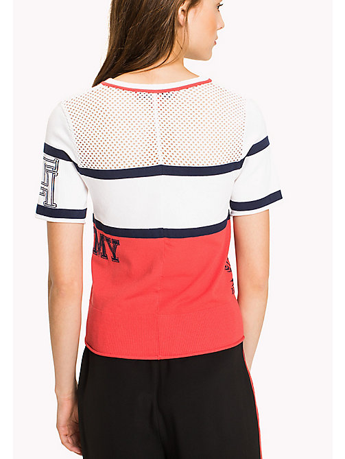 HILFIGER COLLECTION Polo-Pullover mit Logo - SNOW WHITE / TRUE RED - HILFIGER COLLECTION HILFIGER COLLECTION - main image 1