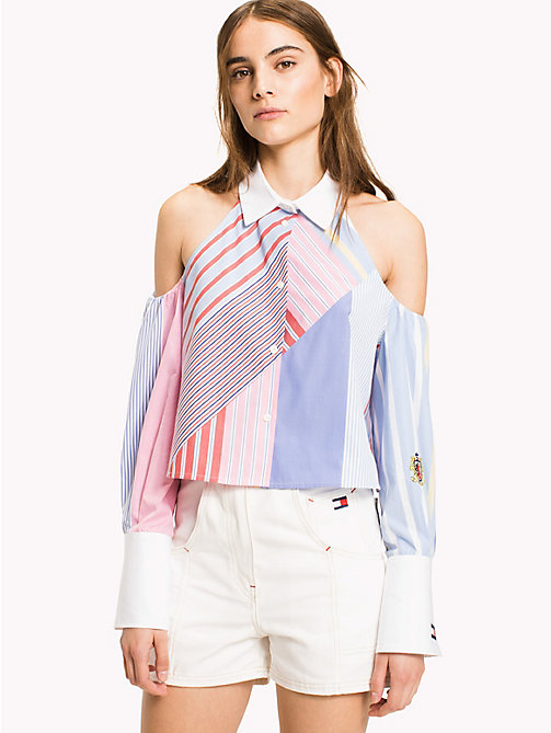 HILFIGER COLLECTION Patchwork Stripe Cold Shoulder Top - OXFORD BLUE / MULTI - HILFIGER COLLECTION HILFIGER COLLECTION - main image