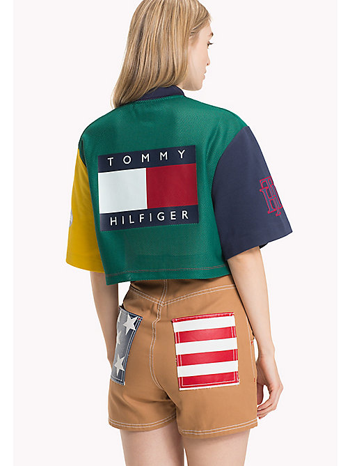 HILFIGER COLLECTION Polo color block de corte cropped - EVERGREEN / MULTI - HILFIGER COLLECTION Hilfiger Collection - imagen detallada 1