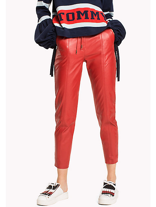 HILFIGER COLLECTION Leather Joggers - TRUE RED - HILFIGER COLLECTION HILFIGER COLLECTION - main image