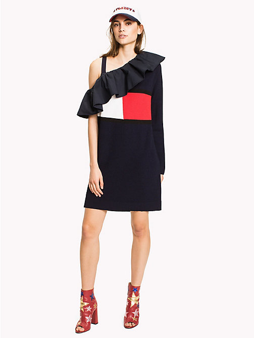 HILFIGER COLLECTION One Shoulder Dress - Hilfiger Collection - PEACOAT - HILFIGER COLLECTION Mini - main image
