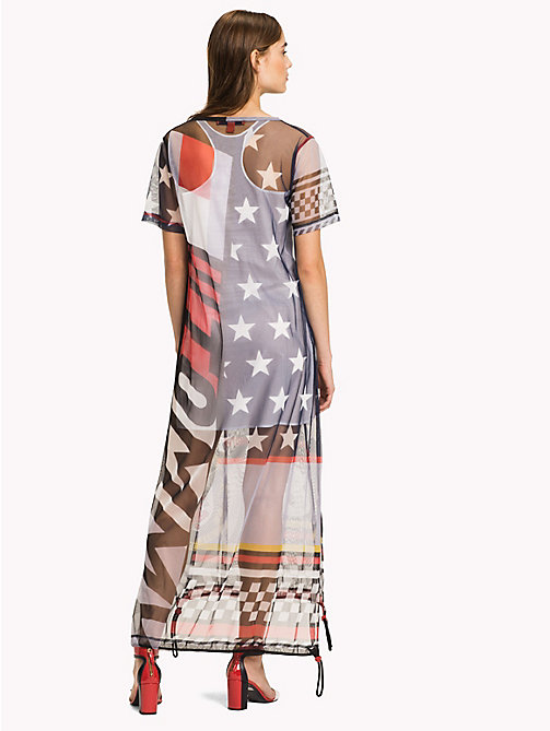 HILFIGER COLLECTION Sheer Logo Midi Dress - METEORITE / MULTI - HILFIGER COLLECTION Clothing - detail image 1