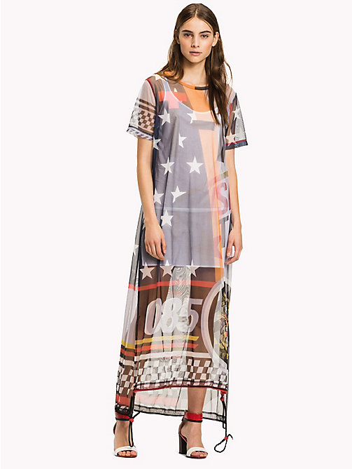 HILFIGER COLLECTION Sheer Logo Midi Dress - METEORITE / MULTI - HILFIGER COLLECTION Women - main image