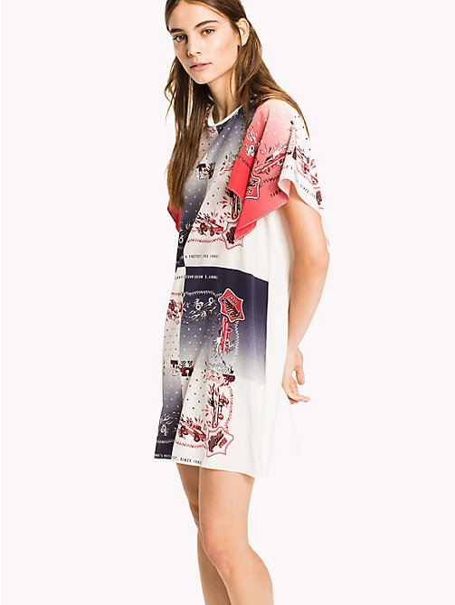 HILFIGER COLLECTION Pure Silk T-Shirt Dress - TRUE RED / MULTI - HILFIGER COLLECTION VACATION - main image