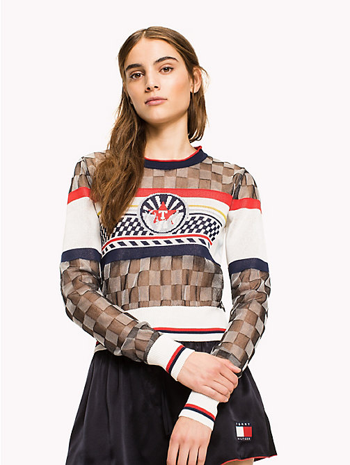 HILFIGER COLLECTION Sheer Racer Style Jumper - METEORITE / MULTI - HILFIGER COLLECTION HILFIGER COLLECTION - main image