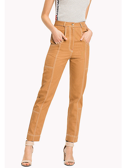 HILFIGER COLLECTION Pantalon en coton à étoiles et rayures - TOBACCO BROWN - HILFIGER COLLECTION Jeans - image principale