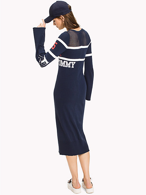 HILFIGER COLLECTION Sukienka z dzianiny z logo - MEDIEVAL BLUE / SNOW WHITE - HILFIGER COLLECTION Midi - detail image 1