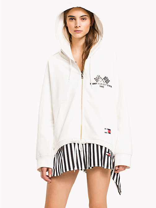 HILFIGER COLLECTION Hooded Zip Jumper - SNOW WHITE - HILFIGER COLLECTION HILFIGER COLLECTION - main image