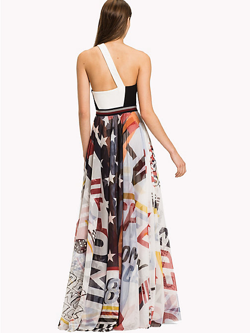 HILFIGER COLLECTION Maxi abito in tulle con stampa racer - SNOW WHITE / MULTI - HILFIGER COLLECTION Maxi - dettaglio immagine 1