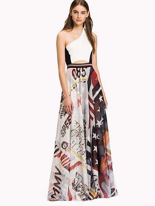 HILFIGER COLLECTION One Shoulder Logo Maxi Dress - SNOW WHITE / MULTI - HILFIGER COLLECTION Maxi - main image