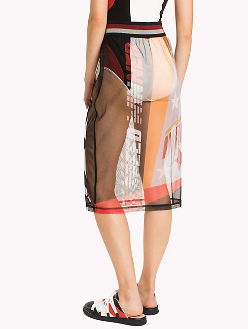 HILFIGER COLLECTION Sheer Logo Midi Skirt - SNOW WHITE MULTI -  HILFIGER COLLECTION - detail image 1