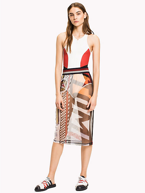 HILFIGER COLLECTION Sheer Logo Midi Skirt - SNOW WHITE MULTI -  HILFIGER COLLECTION - main image