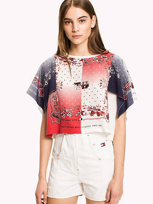 HILFIGER COLLECTION Bandana Print Silk T-Shirt - TRUE RED / MULTI -  Hilfiger Collection - main image