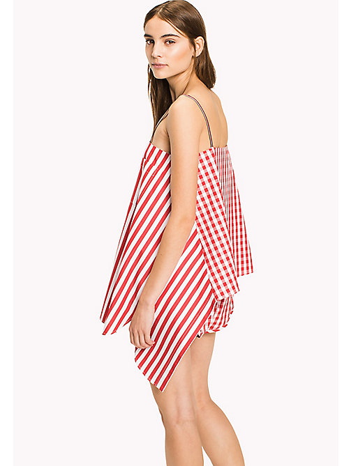 HILFIGER COLLECTION Gingham Stripe Top - TRUE RED / MULTI - HILFIGER COLLECTION Vacation Style - detail image 1