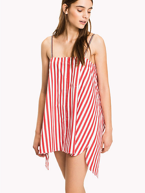 HILFIGER COLLECTION Gingham Stripe Top - TRUE RED / MULTI - HILFIGER COLLECTION Vacation Style - main image