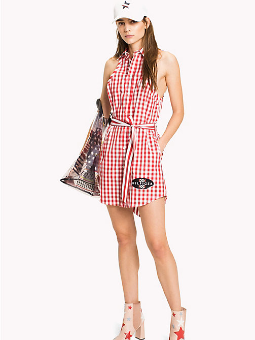 HILFIGER COLLECTION Gingham Stripe Shirt Dress - TRUE RED / SNOW WHITE -  Mini - main image