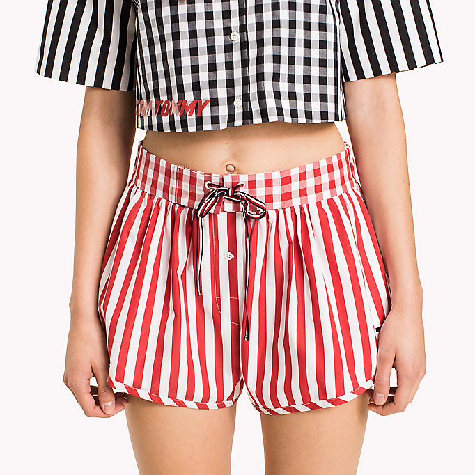 HILFIGER COLLECTION Shorts a righe e quadretti vichy - METEORITE / SNOW WHITE - HILFIGER COLLECTION Donne - dettaglio immagine 4