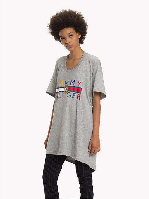 HILFIGER COLLECTION Crest Graphic Draped T-Shirt - LIGHT GREY HEATHER - HILFIGER COLLECTION Hilfiger Collection - main image