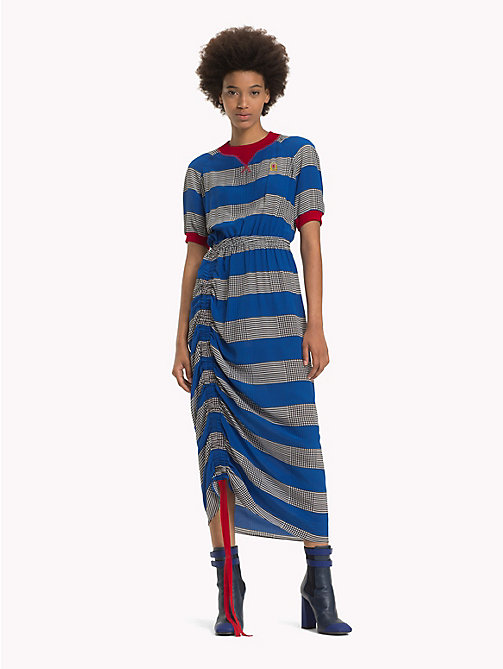HILFIGER COLLECTION Ruched Silk Rugby Stripe Dress - SKYDIVER - HILFIGER COLLECTION TOMMY NOW WOMEN - main image