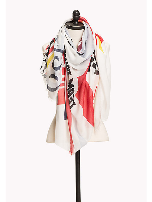 HILFIGER COLLECTION Speed Racers Scarf - SNOW WHITE / MULTI - HILFIGER COLLECTION Hilfiger Collection - main image