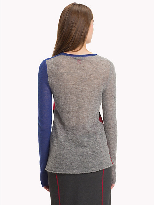 HILFIGER COLLECTION Flauschiger Pullover mit Flag - LIGHT GREY / MULTI - HILFIGER COLLECTION Hilfiger Collection - main image 1