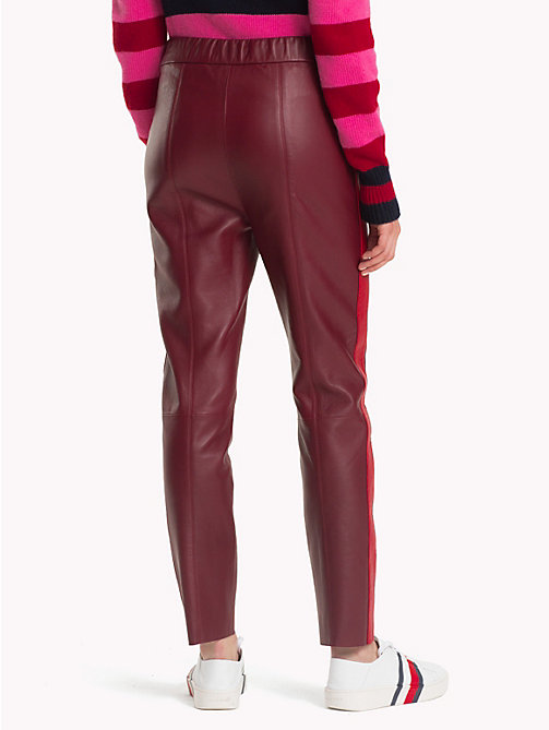 HILFIGER COLLECTION Leather Jogging Bottoms - CABERNET - HILFIGER COLLECTION TOMMY NOW WOMEN - detail image 1