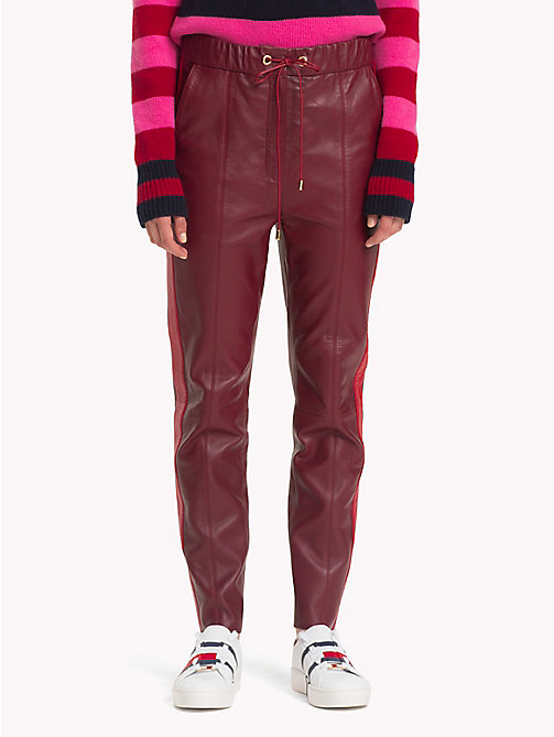 HILFIGER COLLECTION Leather Jogging Bottoms - CABERNET - HILFIGER COLLECTION TOMMY NOW WOMEN - main image