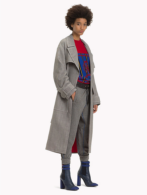 HILFIGER COLLECTION Wool Checked Trench Coat - METEORITE / MULTI - HILFIGER COLLECTION TOMMY NOW WOMEN - main image