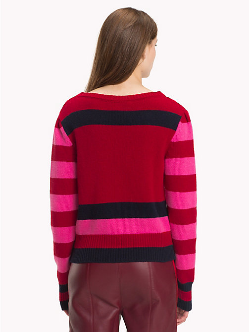 HILFIGER COLLECTION Crest Stripe Jumper - AZALEA PINK / MULTI - HILFIGER COLLECTION TOMMY NOW WOMEN - detail image 1