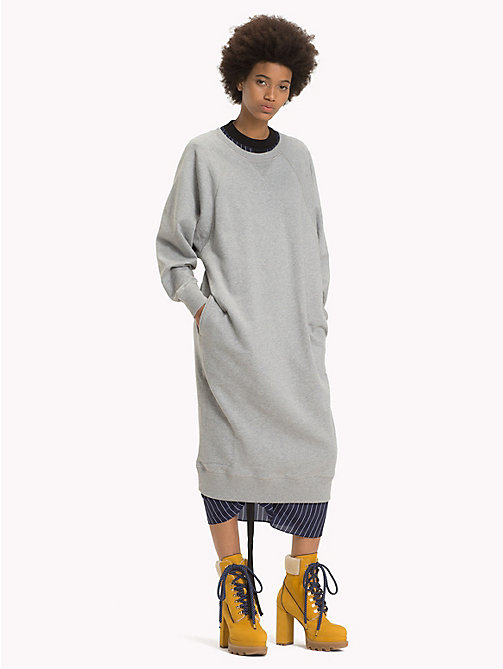 HILFIGER COLLECTION Robe pull chic à logo - LIGHT GREY HEATHER - HILFIGER COLLECTION TOMMY NOW FEMMES - image principale