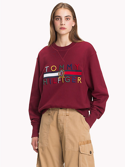 HILFIGER COLLECTION Luxury Crest Logo Sweatshirt - CABERNET - HILFIGER COLLECTION TOMMY NOW WOMEN - main image