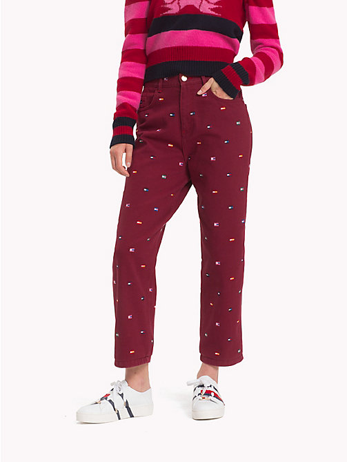 HILFIGER COLLECTION Contrast Flag Print Jeans - CABERNET - HILFIGER COLLECTION Hilfiger Collection - main image