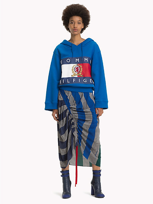 HILFIGER COLLECTION Silk Rugby Stripe Ruched Skirt - DEEP WELL - HILFIGER COLLECTION TOMMY NOW WOMEN - main image