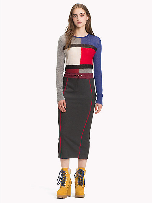 HILFIGER COLLECTION Sporty Jersey Midi Skirt - DARK GREY HEATHER - HILFIGER COLLECTION Hilfiger Collection - main image