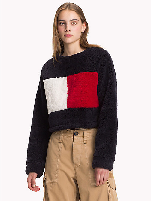 HILFIGER COLLECTION Cropped Fleece Flag Sweatshirt - DEEP WELL - HILFIGER COLLECTION TOMMY NOW WOMEN - main image