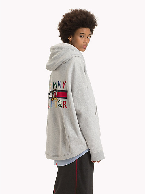 HILFIGER COLLECTION Flag Hoodie - LIGHT GREY HEATHER - HILFIGER COLLECTION TOMMY NOW WOMEN - detail image 1